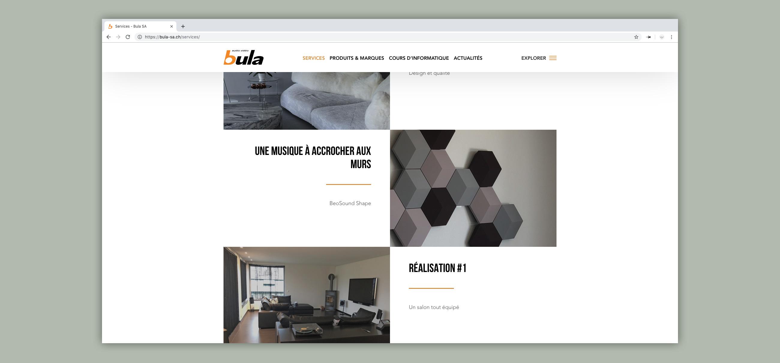 Site web bula - page services