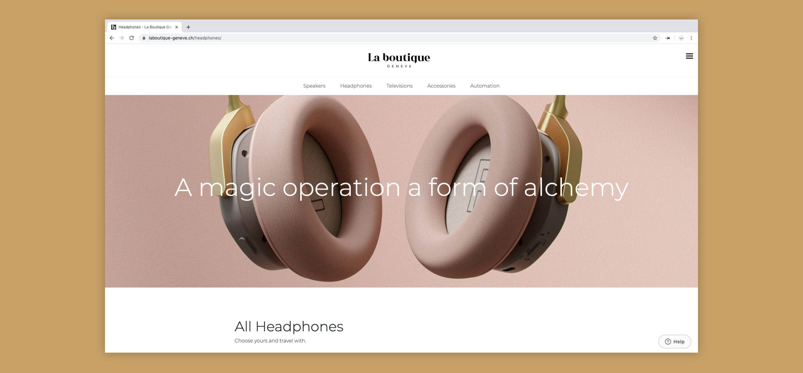 Site web de La Boutique sur la page des casques