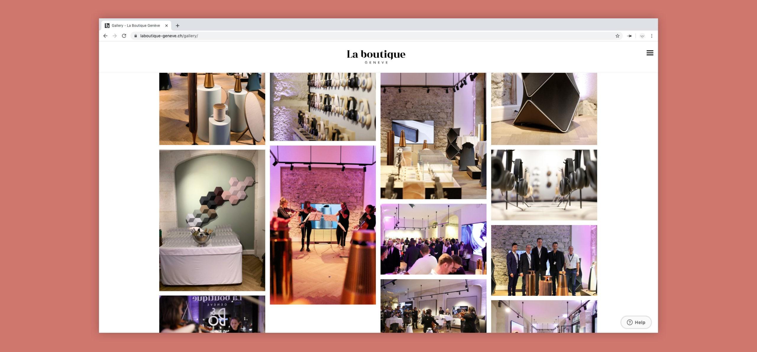 Site web de La Boutique sur la page galerie