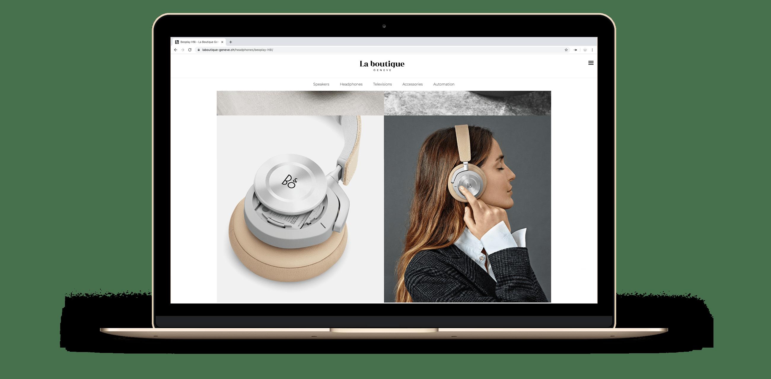 Site web sur la page d'un casque de La Boutique