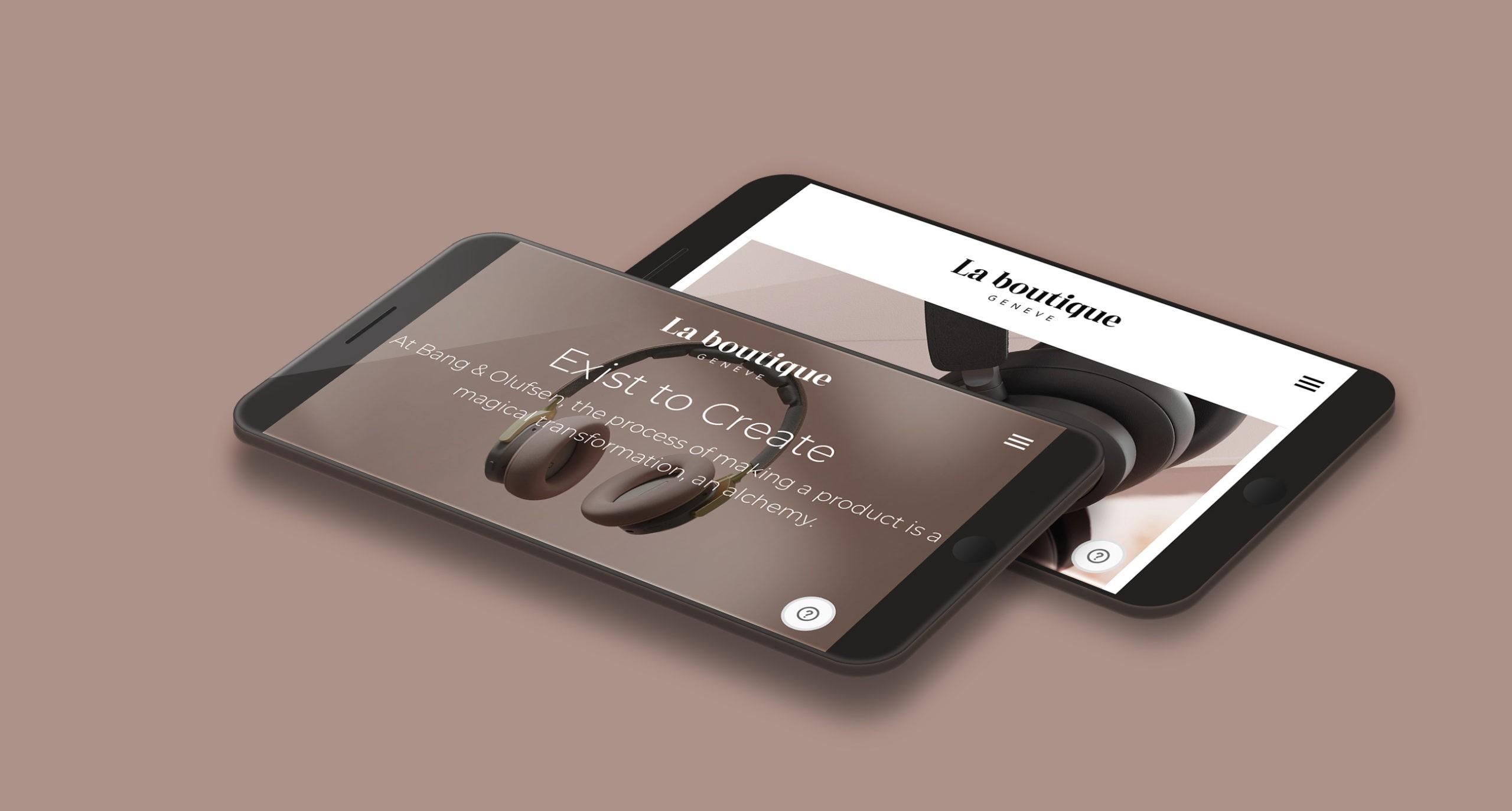 Page d'accueil de La Boutique sur mobile