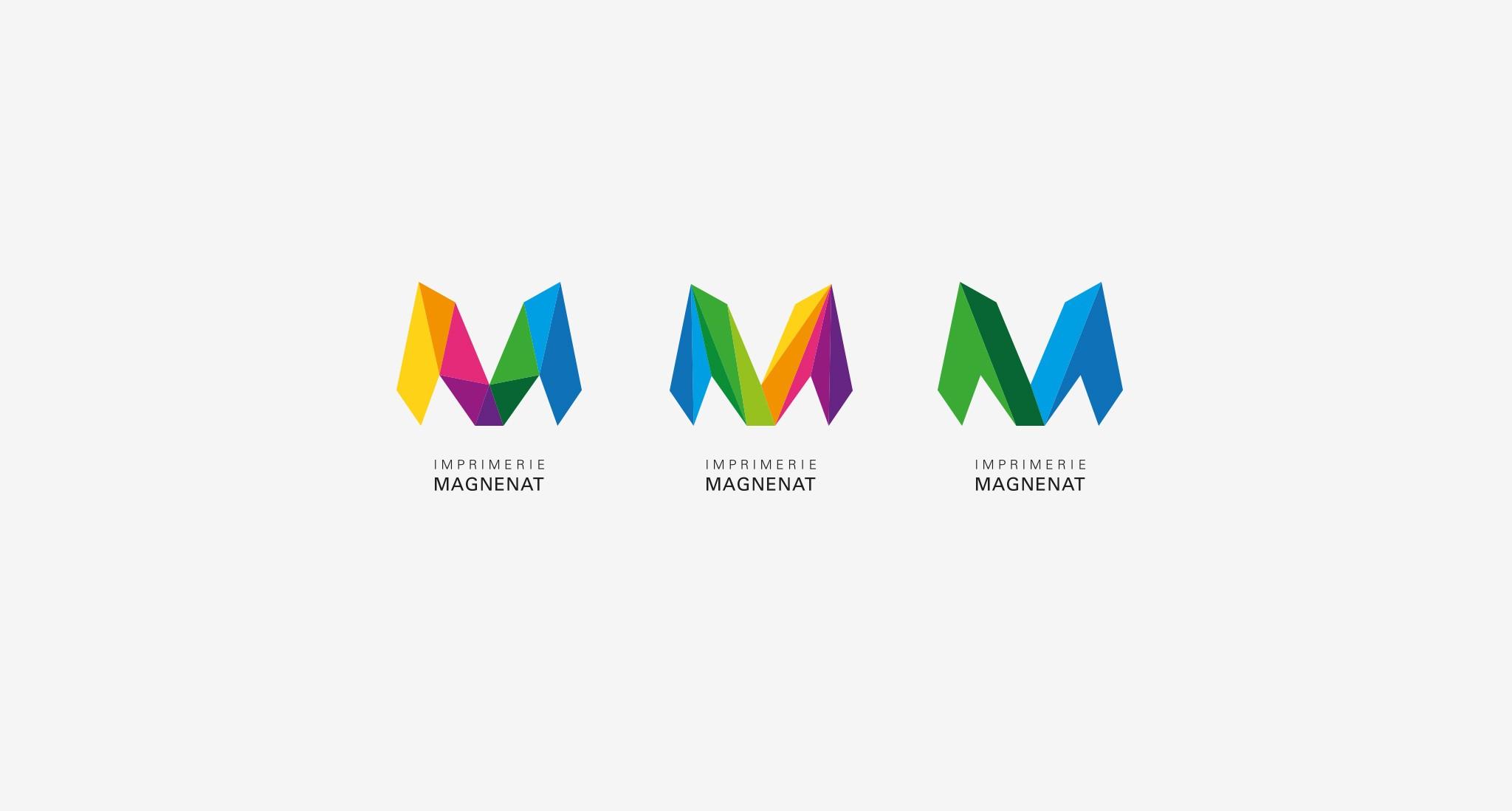 Les différentes dérive du logo de l'imprimerie magnenat