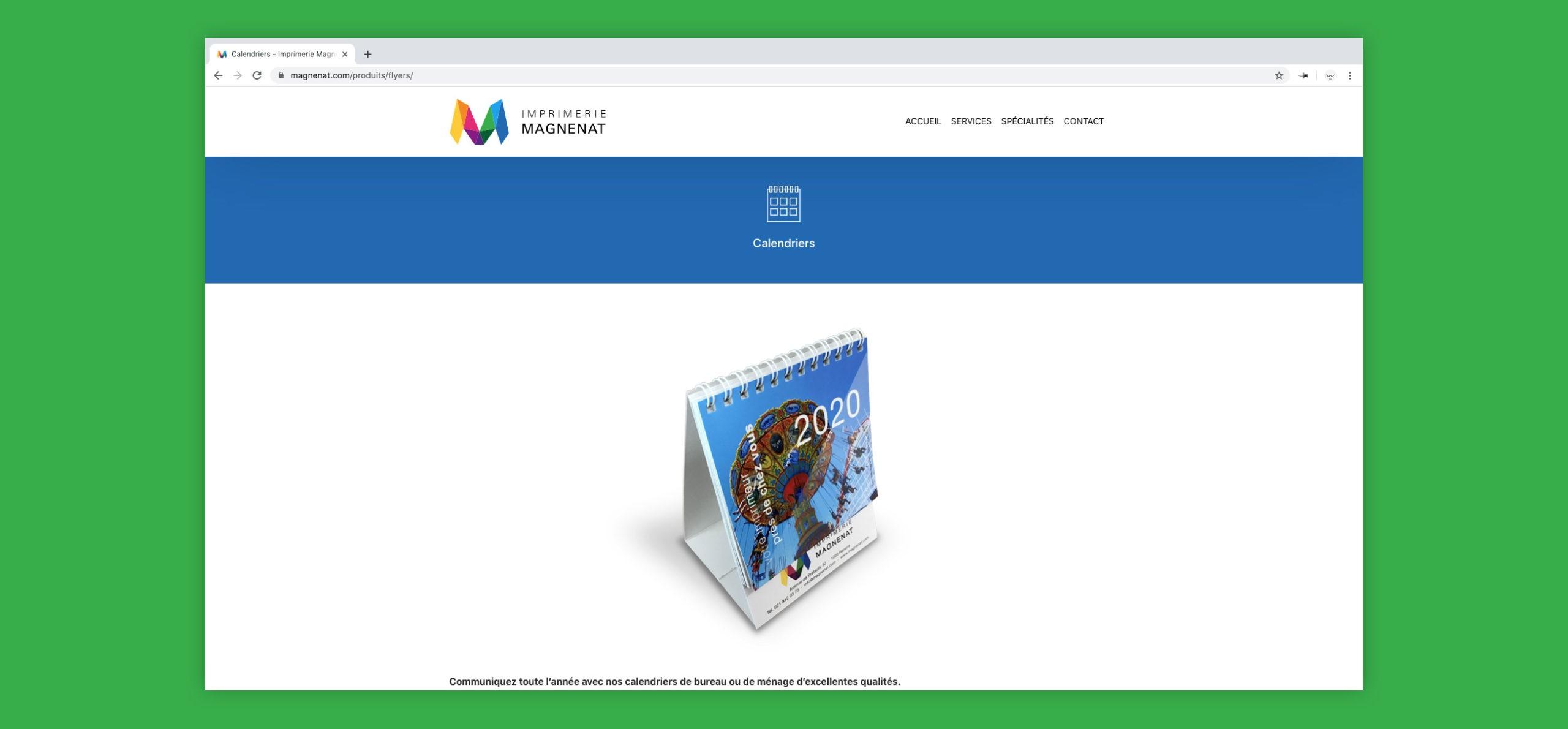 Site web magnenat sur la page des flyers avec une image de calendrier au centre.