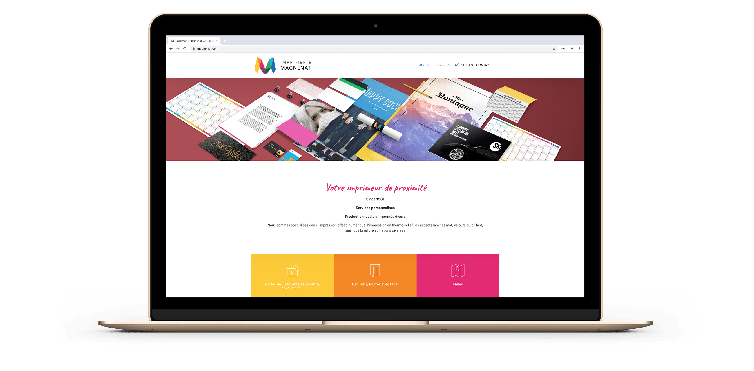 Site web magnenat sur un ordinateur, ici la page d'accueil.